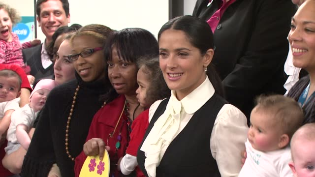 us fund for unicef president caryl stern salma hayek and guests at the salma hayek and unicef announce 2nd wave of 'one pack = one vaccine' campaign... - salma hayek stock videos and b-roll footage