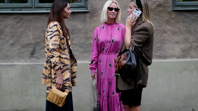 Funda Christophersen wearing yellow bag dress coat with animal print tiger a guest wearing pink dress and Janka Polliani wearing corduroy blazer...