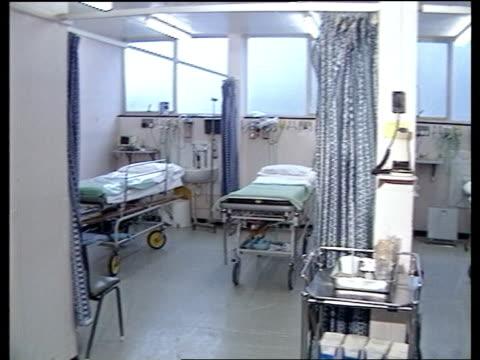 NHS funding ITN LIB Hospital MS Empty beds PAN RL empty ward MS Medical equipment on shelf PULL OUT hospital bed MS SIDE hospital beds as trolley of...
