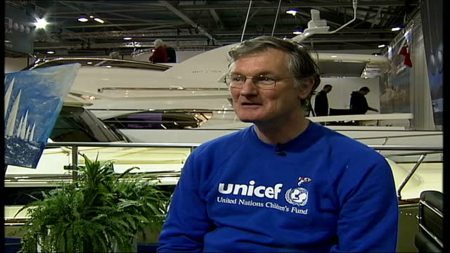 AIDS fundraising competition that costs five thousand pounds to enter ENGLAND London Docklands London Boat Show INT Bruce Mauleverer interviewed SOT...