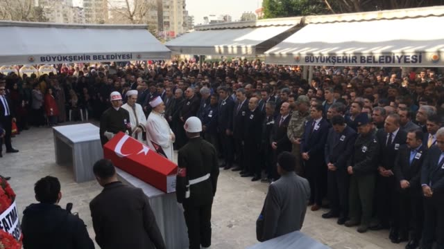 Funeral ceremony for Turkish specialized sergeant Gokhan Kilic martyred in Operation Euphrates Shield near the Daeshheld city of AlBab in northern...