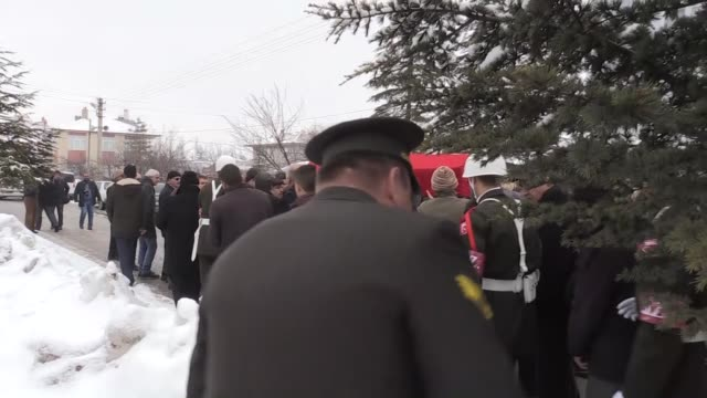 Funeral ceremony held for copilot Kazim Ondul who lost his live in a cargo plane crash near Bishkek in Konya Turkey on January 20 2017 The Boeing...