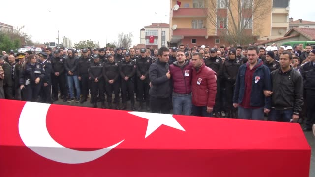 A funeral ceremony is held for deputy police chiefs Erdem Ozcelik and Adem Oguz who were martyred in the twin deadly terror attacks in Istanbul on...