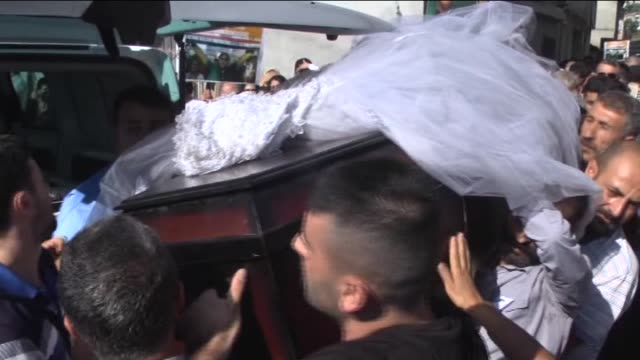 Funeral ceremony is held for Necla Duran on October 12 2015 in Hatay Turkey two of the victims killed in a twin suicide bombing in Ankara that left...