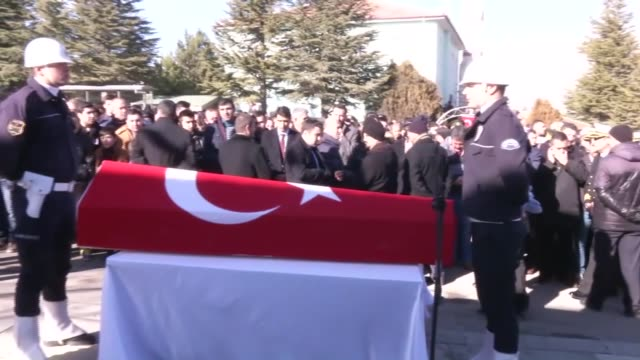 A funeral ceremony is held for police officer Cetin Sarikaya who was martyred in the twin deadly terror attacks in Istanbul on December 12 2016 in...