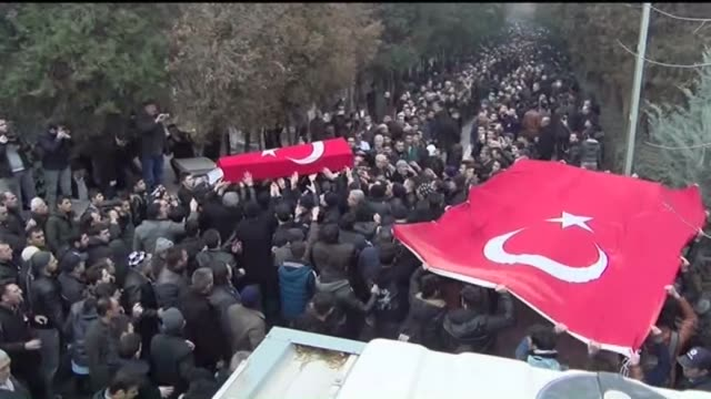 A funeral ceremony is held for police officer Metin Duzgun who was martyred in the twin deadly terror attacks in Istanbul on December 12 2016 in Ko...