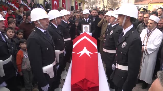 A funeral ceremony is held for police officer Mustafa Kemal Devrilmez who was martyred in the twin deadly terror attacks in Istanbul on December 12...