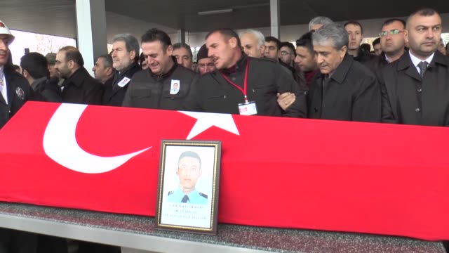 A funeral ceremony is held for police officers Okan Dogan and Hamdi Dikmen who were martyred in the twin deadly terror attacks in Istanbul on...