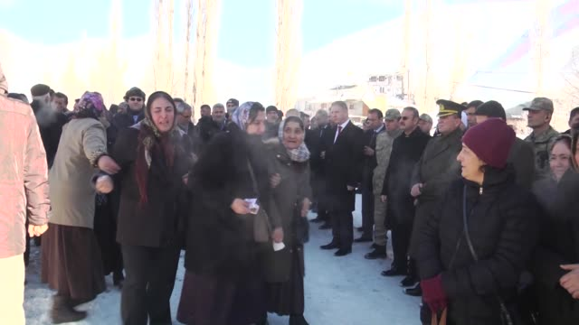 a funeral ceremony is held for waiter kenan kutluk in sivas turkey on january 022017 kutluk was killed in the armed attack on a nightclub in istanbul... - 銃撃事件点の映像素材/bロール