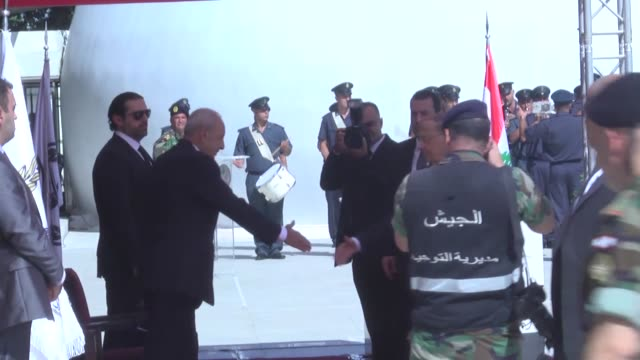 funeral ceremony of the 10 lebanese soldiers, who were kidnapped by daesh on 2014 and murdered, held in front of the defence ministry of lebanon in... - isil konflikt stock-videos und b-roll-filmmaterial