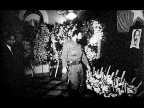 funeral for ho chi minh with generals and military standing at attention / school children crying / fidel castro visiting funeral - fidel castro stock videos and b-roll footage