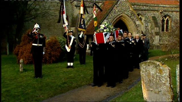 funeral for world war one veteran bill stone soldier plays bugle/ coffin carried away from church followed by mourners - bugle stock videos and b-roll footage