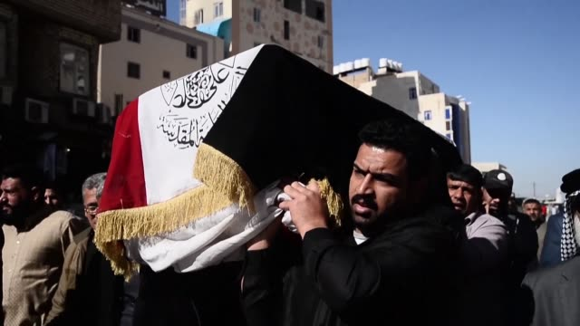 funeral march makes its way through najaf a favoured burial place for iraqi shiites to mourn the young man killed earlier in the day in nasiriyah... - najaf stock videos & royalty-free footage