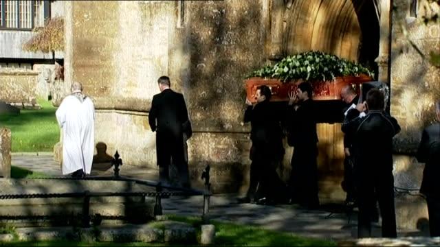 funeral of actress lynda bellingham england somerset crewkerne ext coffin carrying deceased actress lynda bellingham being carried from church as... - lynda bellingham stock videos & royalty-free footage