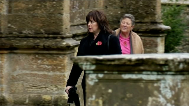 funeral of actress lynda bellingham mourners including coleen nolan and denise welch arriving for service - lynda bellingham stock videos & royalty-free footage