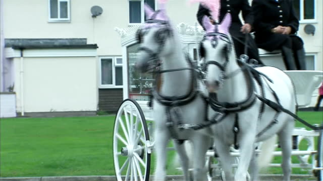 funeral of april jones: cortege departs home; wales: machynlleth: ext two police officers / horse-drawn hearse arriving and police officer saluting - aprile video stock e b–roll