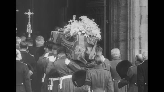 funeral of king george vi / big ben in heavy fog / aerial of funeral procession / crown, scepter, orb, and flag on king's coffin / crowd watches... - sphere stock videos & royalty-free footage
