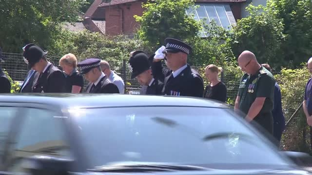funeral of murdered pcso julia james takes place at canterbury cathedral; england: kent: canterbury: ext julia james hearse and funeral cortege along... - crime and murder stock videos & royalty-free footage