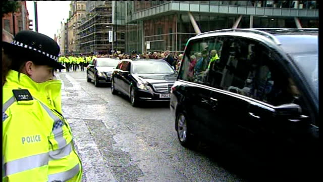 funeral of pc fiona bone gvs police horses leading funeral procession along to cathedral / lines of police marching behind hearse - hearse stock videos & royalty-free footage