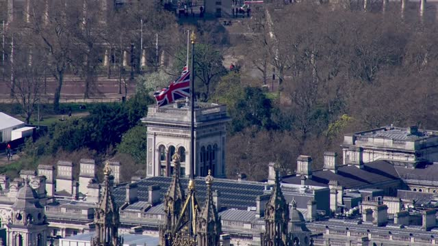 funeral of prince philip, duke of edinburgh: central london aerials; england: london: ext air views / aerials houses of parliament - palace of... - politics stock-videos und b-roll-filmmaterial