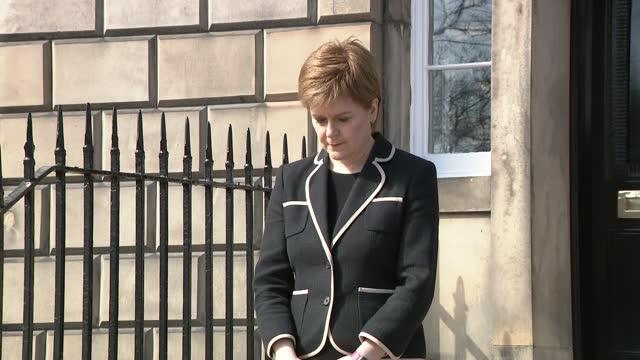 funeral of prince philip, duke of edinburgh: minute's silence: nicola sturgeon; scotland: edinburgh: st andrew's house: ext nicola sturgeon msp out... - politics stock-videos und b-roll-filmmaterial