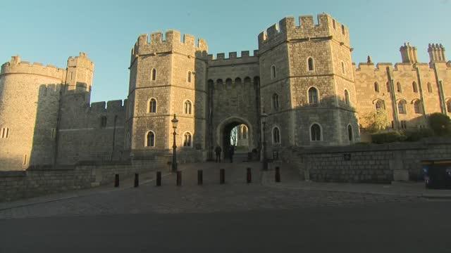 funeral of prince philip, duke of edinburgh: windsor castle dawn general views; england: berkshire: windsor: ext / dawn gvs windsor castle at... - general view stock videos & royalty-free footage