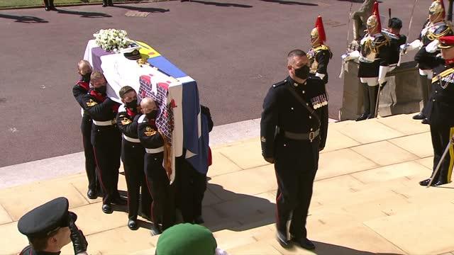 funeral of prince philip,duke of edinburgh: international cleanfeed: 14.00 - 15.00; england: berkshire: windsor: windsor castle: ext pallbearers... - doorway stock videos & royalty-free footage