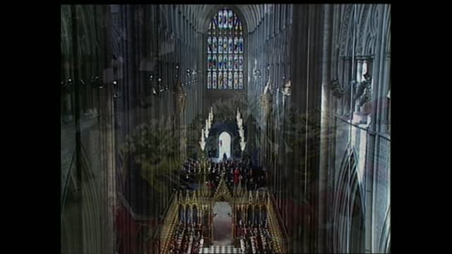 funeral of princess diana: coffin leaves westminster abbey; england: london: westminster abbey: int tcms coffin of diana, princess of wales being... - funeral stock videos & royalty-free footage