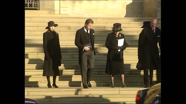 funeral of princess margaret; england: berkshire: windsor castle: ext lms david armstrong-jones, second earl of snowdon standing beside wife serena... - concentration stock videos & royalty-free footage