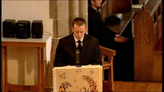 funeral of private nathan cuthbertson int high angle shot of coffin placed on dais chris curtis eulogy sot he always talked about being in the paras... - eulogy stock videos & royalty-free footage
