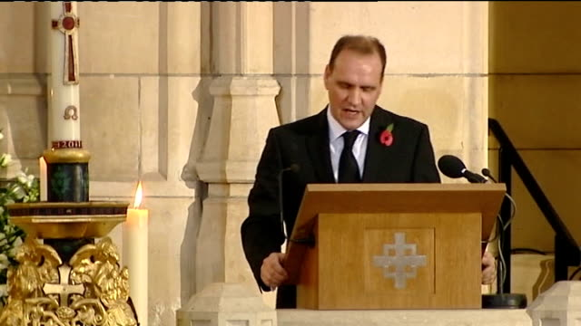 funeral of sir jimmy savile int professor alistair hall reading eulogy sot saying savile had no fear of dying - eulogy stock videos & royalty-free footage