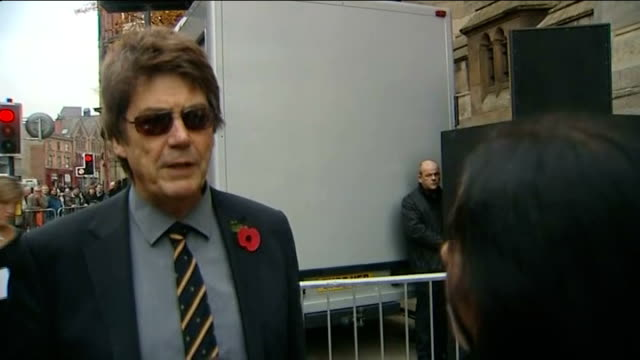 funeral of sir jimmy savile mike read speaking to press mike read interview sot st anne's cathedral goldcoloured coffin carried into cathedral by... - ジミー サヴィル点の映像素材/bロール