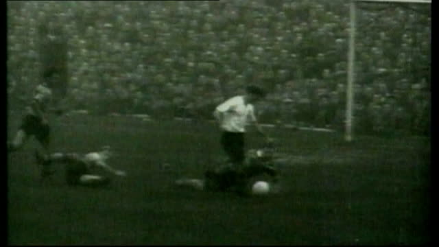 Funeral of Sir Tom Finney b/w newsreel footage Tom Finney playing for Preston North End with commentary SOT b/w footage Finney playing Colour footage...