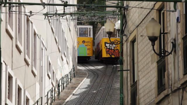 ms funiculars elevador do lavra on narrow street / lisbon, portugal - 玉石点の映像素材/bロール