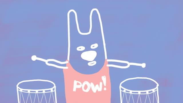 funny drummer - rabbit animal stock videos & royalty-free footage
