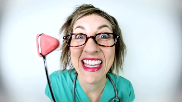 Funny Fisheye Video of Crazy Nurse With Reflex Hammer