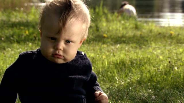 Funny grumpy baby.