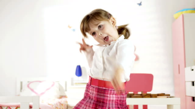 hd: funny little girl dancing in her room - nursery school child stock videos & royalty-free footage
