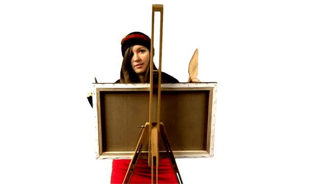 vídeos de stock, filmes e b-roll de engraçado pintura - pintor artista