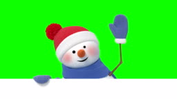 Funny Snowman in Santa`s Hat Greeting and Smiling