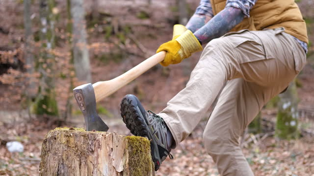 funny video of a man trying to pull out the axe from the stump. - comedian stock videos & royalty-free footage