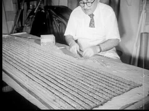 1953 B/W MONTAGE Fur coat designer and manufacturers at work, New York City, New York, USA, AUDIO