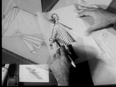 1953 b/w montage fur coat designer at work, new york city, new york, usa, audio - 1953 stock videos and b-roll footage