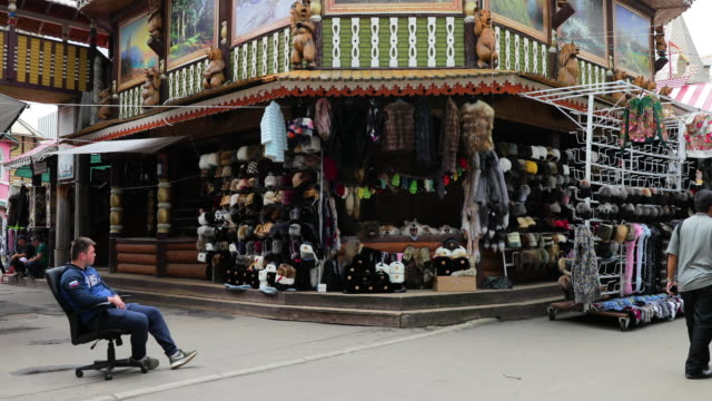 fur & ushanka hat market stall, izmailovsky market, moscow, russia - stuffed stock videos & royalty-free footage