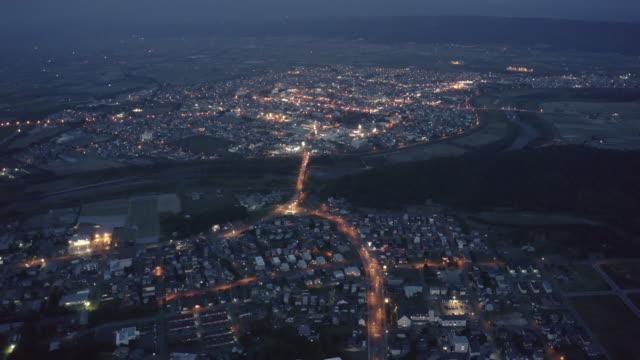 furano night aerial view - liyao xie stock videos & royalty-free footage