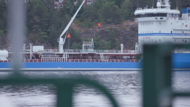 Fure Nord oil tanker in Stockholm port and sailing