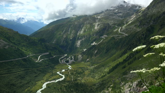 Furka Pass Road and Grimsel Pass Road with Gletsch, Canton of Valais, Switzerland