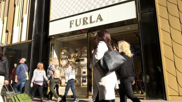 furla is an italian luxury company that features italian-designed products that range from handbags and shoes to accessories. - fifth avenue stock videos & royalty-free footage