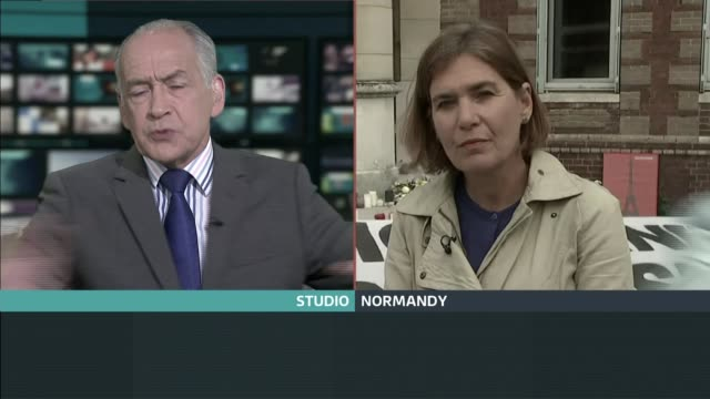 further details on the normandy church siege graphicised excerpt tv clip 'itv lunchtime news' showing live 2way between alastair stewart and reporter... - itv news at ten stock videos & royalty-free footage