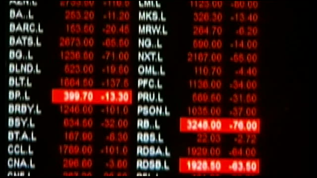 further falls across world stock markets england london the city computer screen showing falling stock prices in red will hedden interview sot close... - moving down stock videos & royalty-free footage